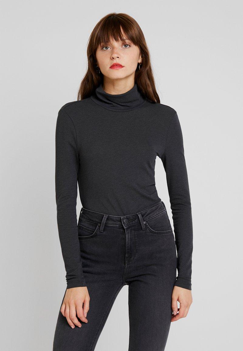 Vero Moda - VMCARLA HIGHNECK TOP - Long sleeved top - dark grey melange