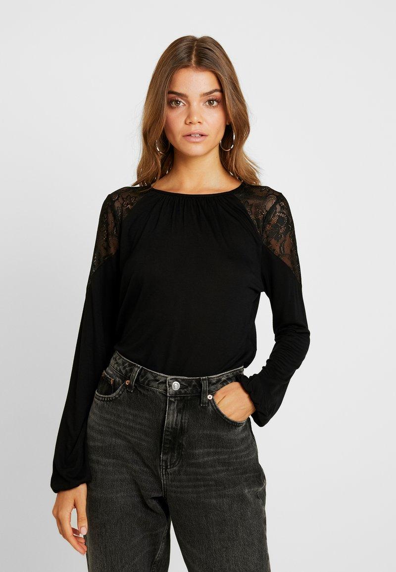 Vero Moda - VMSALLY INSERT BLOUSE - Long sleeved top - black