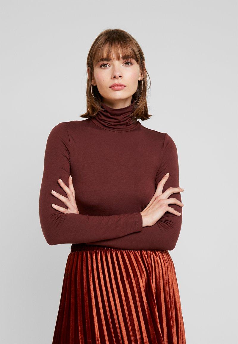 Vero Moda - VMAVA LULU ROLLNECK BLOUSE - Long sleeved top - madder brown