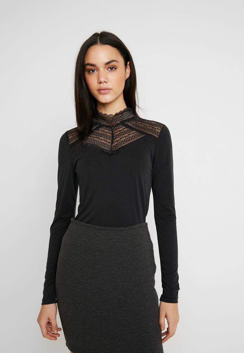 Vero Moda - VMLILJA HIGHNECK - Long sleeved top - black