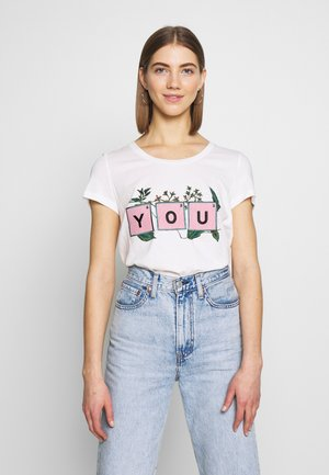 VMTOVEDIANA - Camiseta estampada - snow white