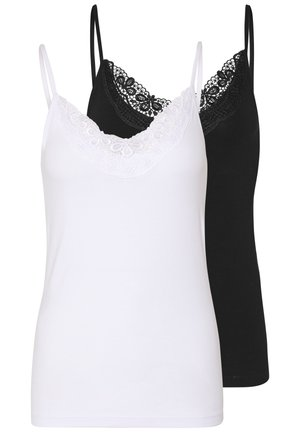 VMINGE LACE SINGLET 2-PACK NOOS - Débardeur - black/bright white