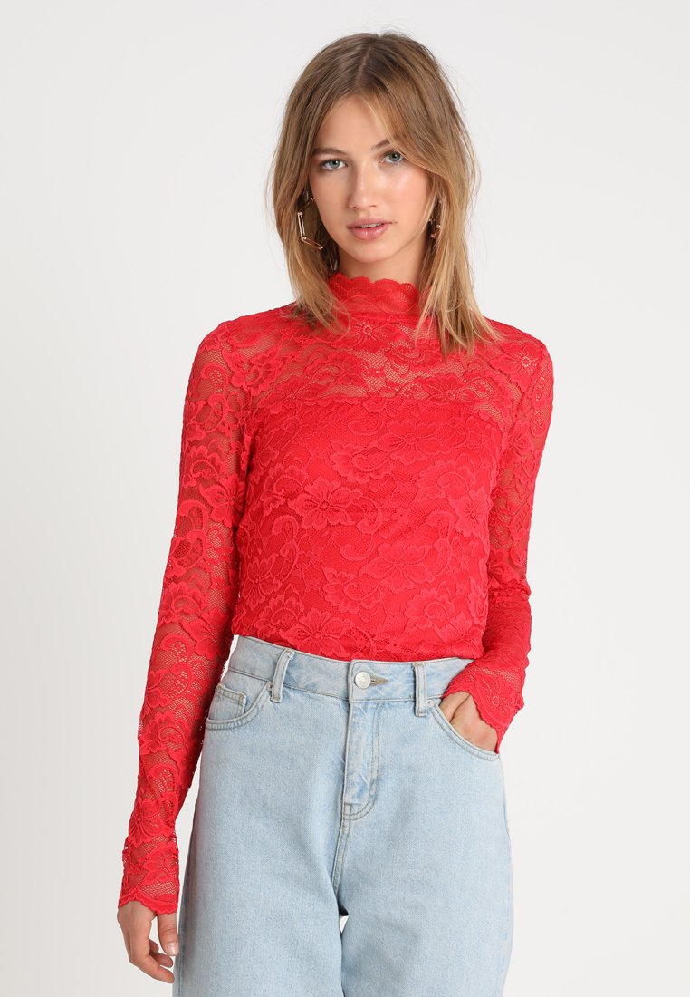 Vero Moda - VMLUCIA HIGH NECK  - Bluse - chinese red