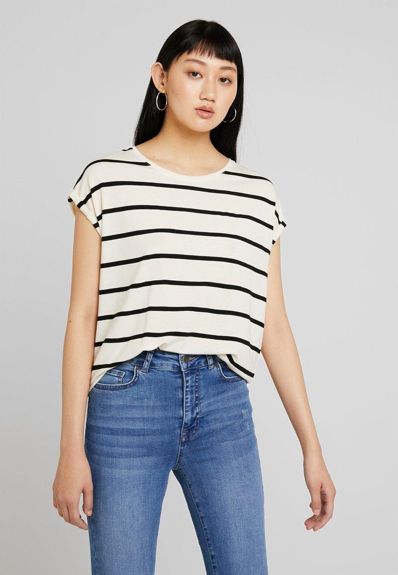 Vero Moda - VMAVA PLAIN NEMO STRIPE - T-Shirt print - pristine/black
