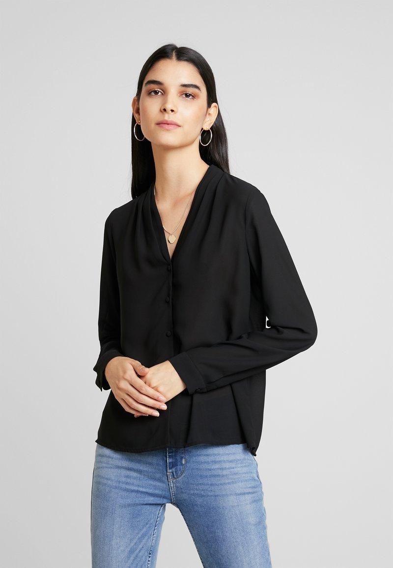 Vero Moda - VMCAITLIN V NECK - Button-down blouse - black