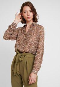 Vero Moda - VMAMELIA FOLD UP - Button-down blouse - tortoise shell - 0