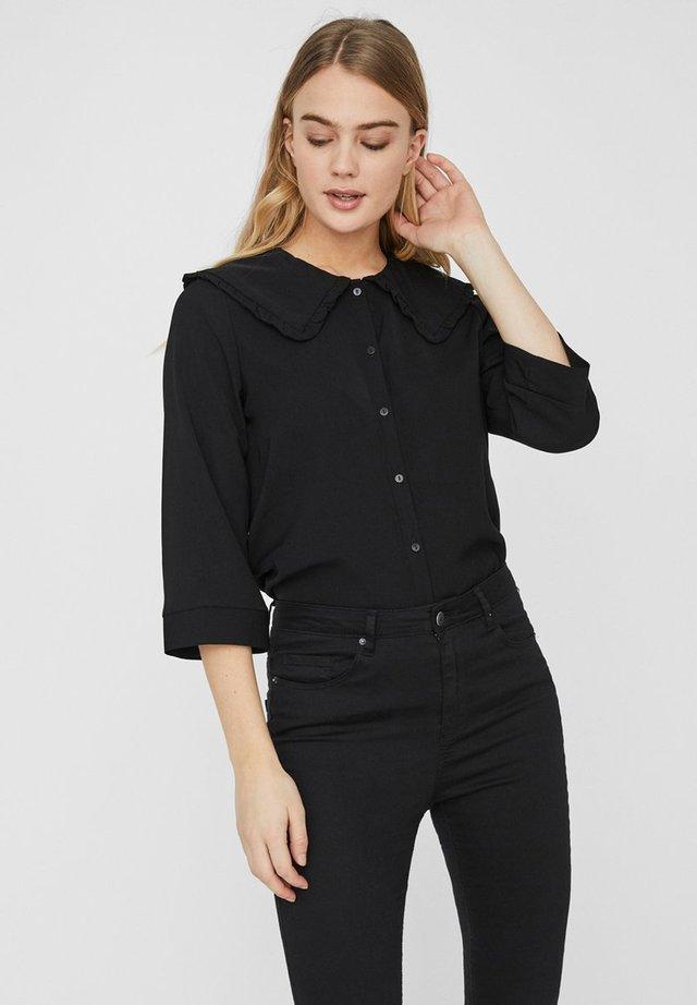 3/4-ÄRMEL - Button-down blouse - black