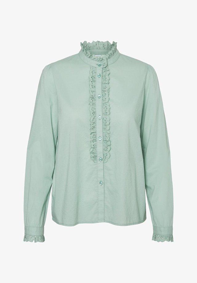 Button-down blouse - granite green