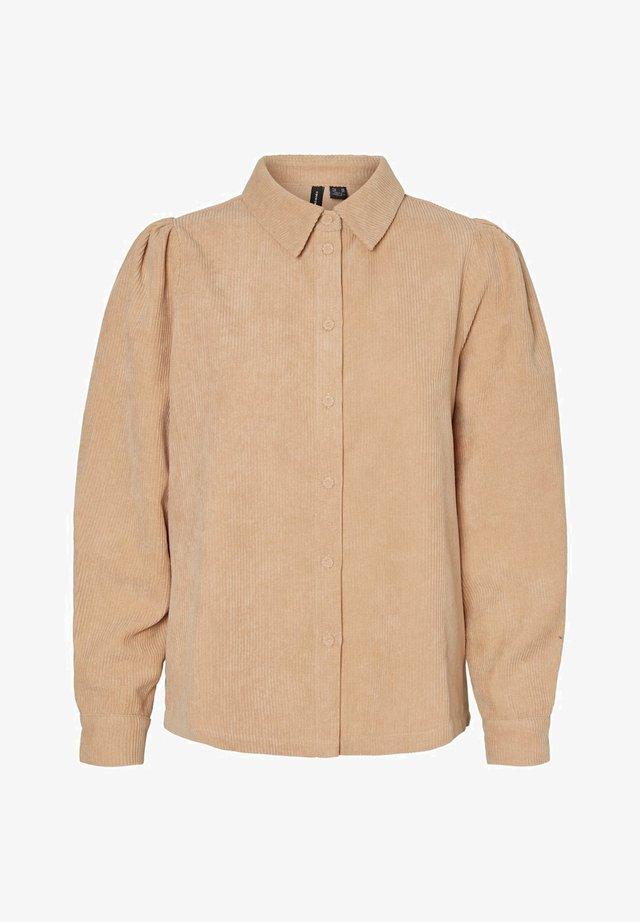 HEMD CORD - Button-down blouse - beige