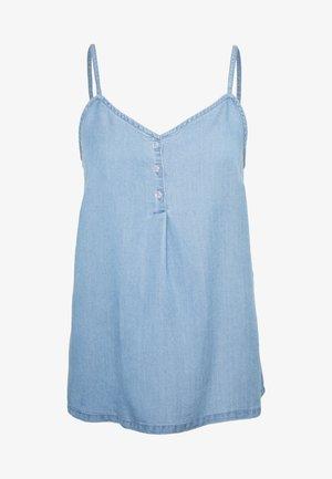 VMLENA BUTTON SINGLET - Top - light blue denim