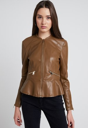 VMEBRU BUTTER SHORT FAUX  - Faux leather jacket - cognac