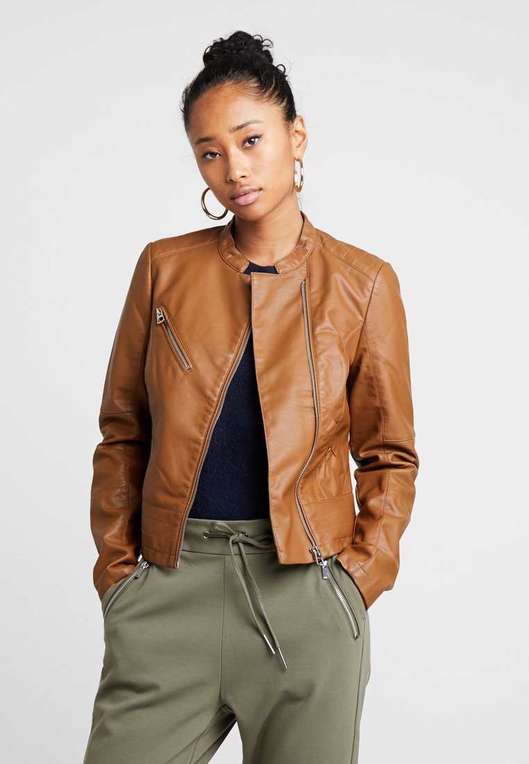 Vero Moda - VMNORA FAVO - Faux leather jacket - cognac