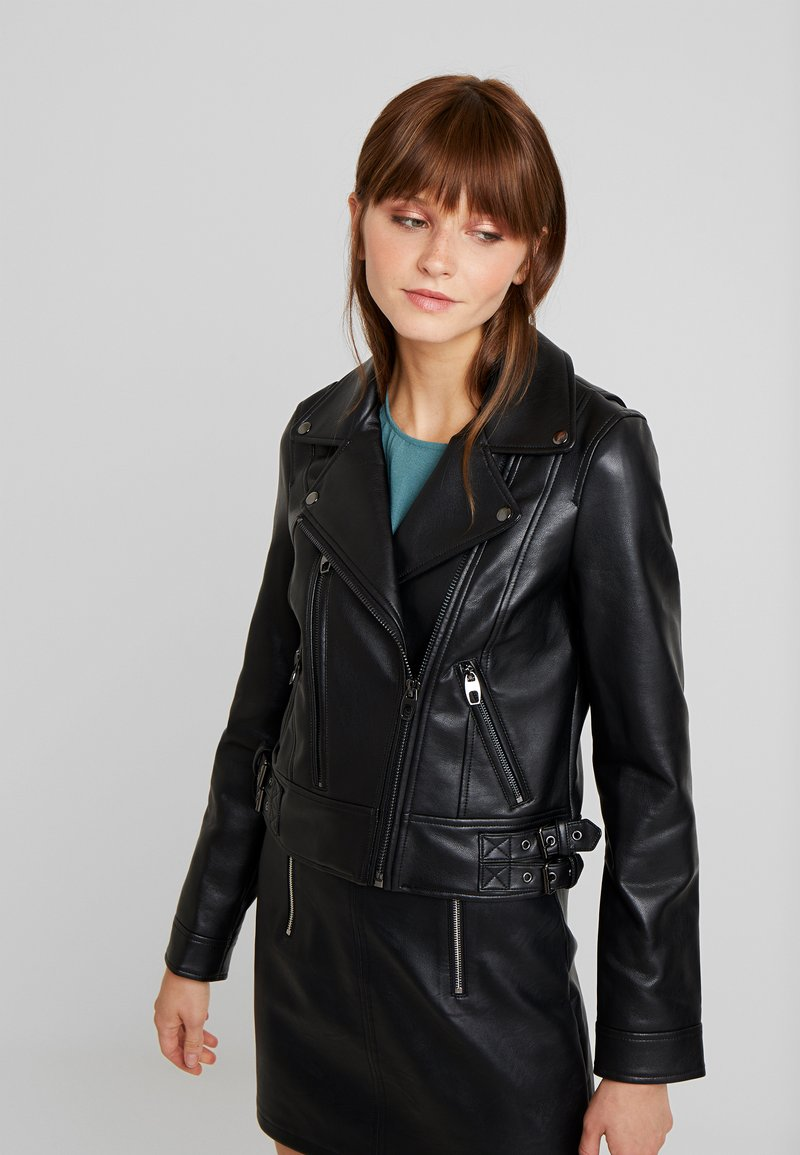 Vero Moda - VMCOOL SHORT COATED JACKET - Faux leather jacket - black