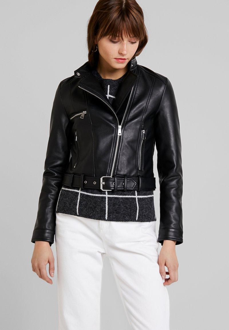 Vero Moda - VMEILEEN SHORT COATED JACKET - Faux leather jacket - black
