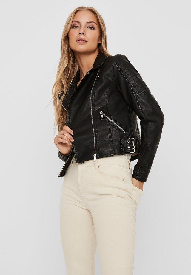 JACKE BESCHICHTETE - Faux leather jacket - black