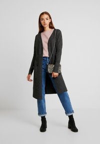 Vero Moda - VMBRILLIANT LONG OPEN CARDIGAN - Cardigan - black/melange - 1
