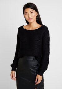 Vero Moda - VMNO NAME BOATNECK NO EDGE  - Strikkegenser - black - 0