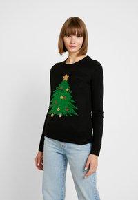 Vero Moda - VMSHINY CHRISTMAS TREE - Svetr - black - 0