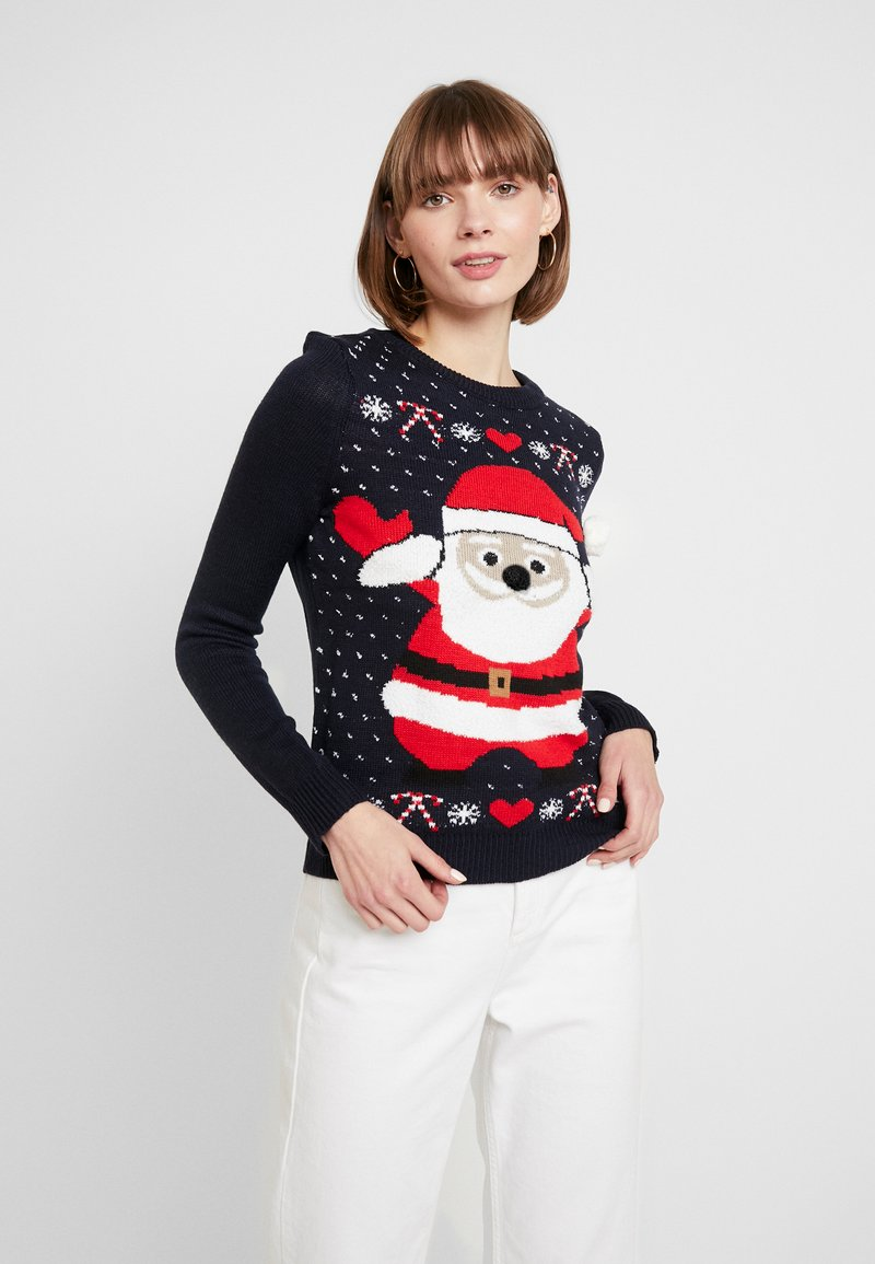 Vero Moda - SANTA - Strickpullover - night sky/chinese red/snow white