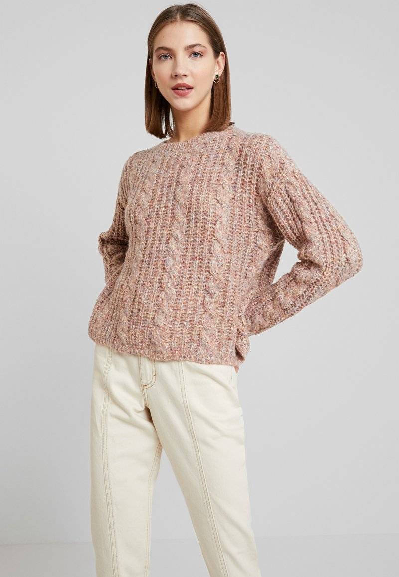 Vero Moda - VMFRIENDLY O-NECK - Svetr - sepia rose/comb