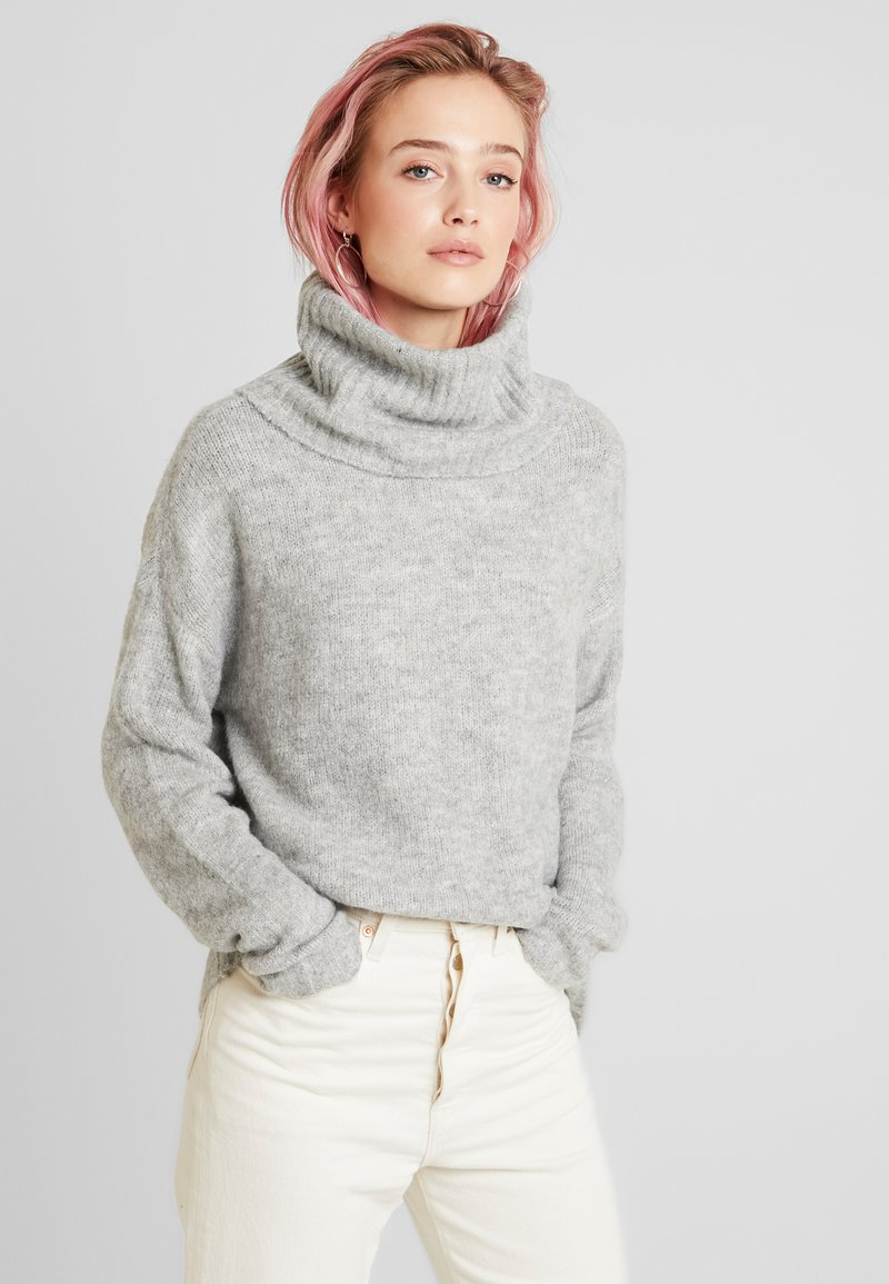 Vero Moda - VMKIZZI LONG COWLNECK - Jumper - light grey melange