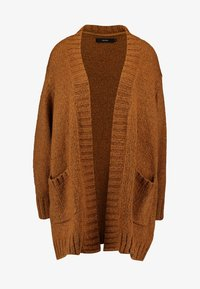 Vero Moda - VMKAKA OPEN COATIGAN - Kardigan - tobacco brown/black - 4