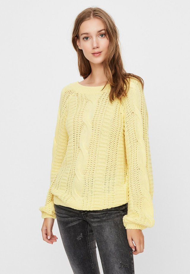 STRICKPULLOVER V-BACK - Jersey de punto - yellow