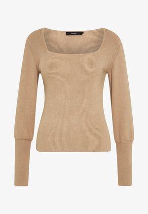 VMYAZURI SQUARE NECK  - Stickad tröja - beige