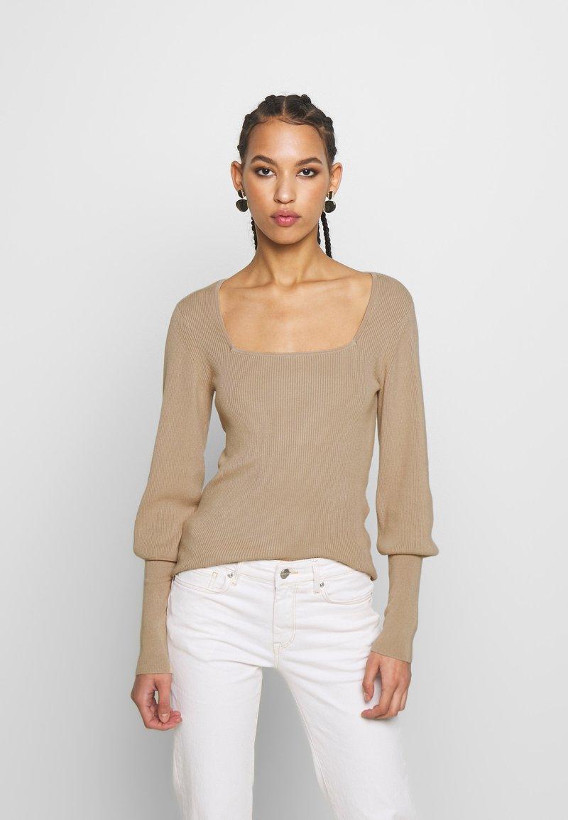 Vero Moda - VMYAZURI SQUARE NECK  - Jersey de punto - beige