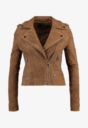 VMROYCE - Leather jacket - tobacco brown
