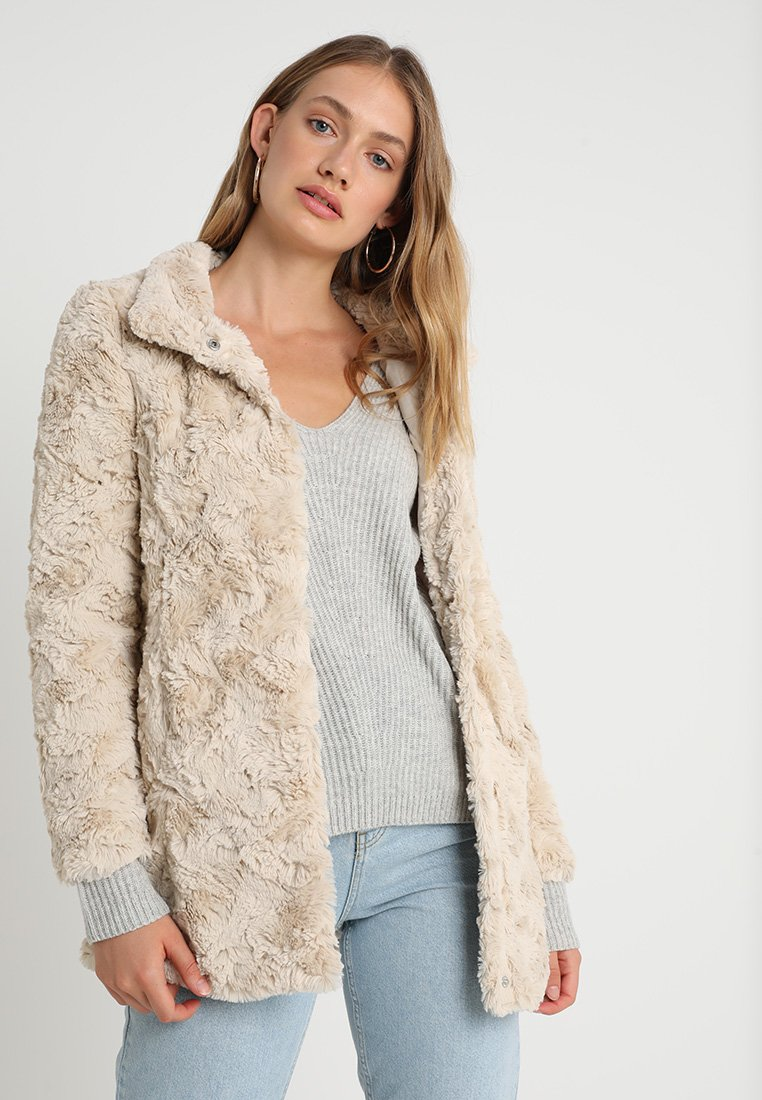 Vero Moda - VMCURL HIGH NECK JACKET NO - Halflange jas - oatmeal