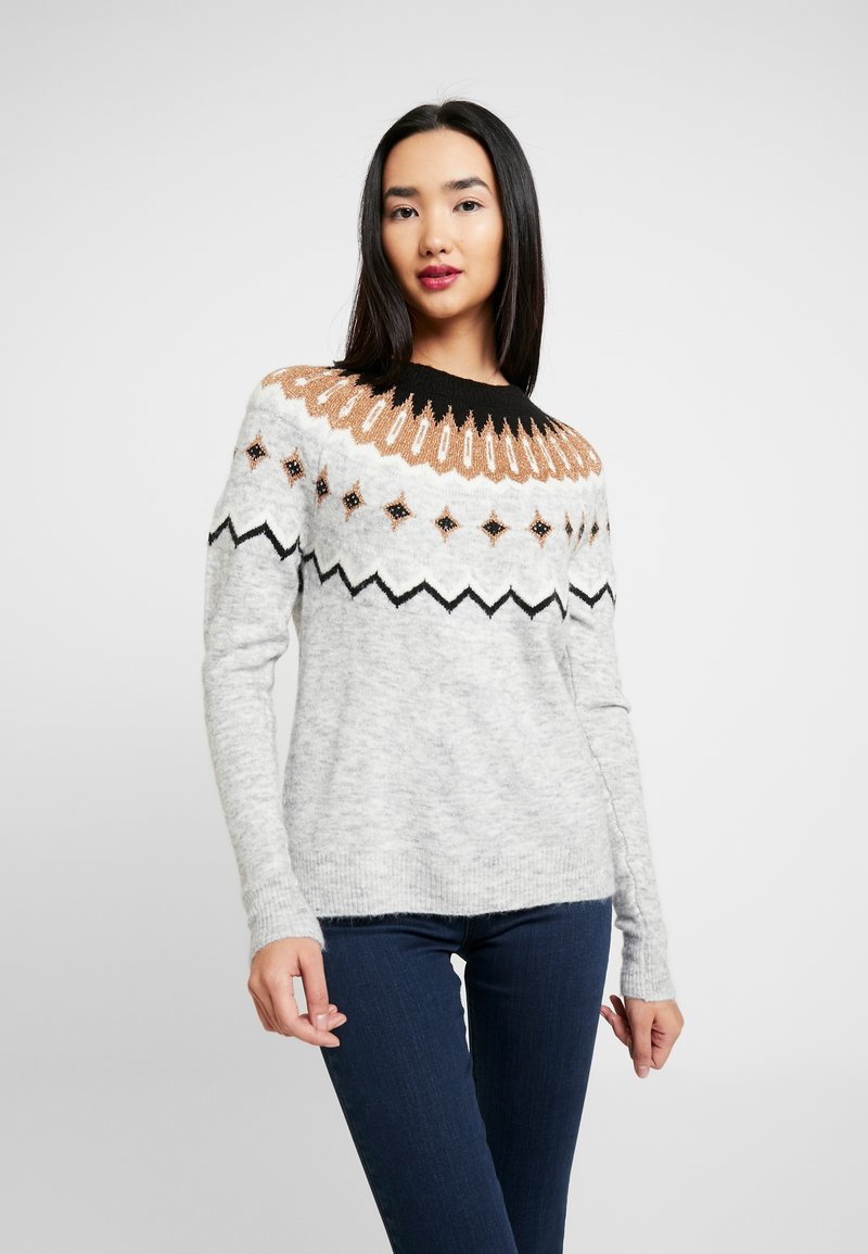 Vero Moda - VMTITI O NECK - Jumper - light grey melange/black/pristin