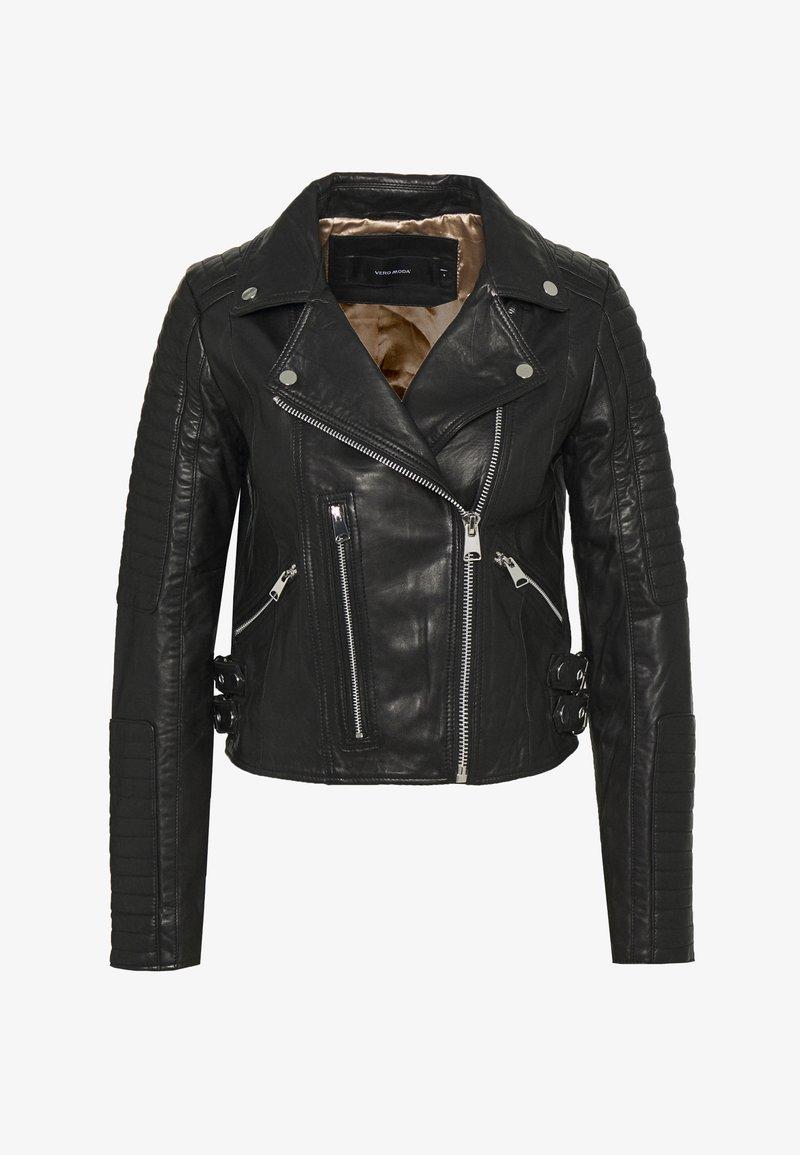 Vero Moda - VMALICIA SHORT JACKET - Leren jas - black