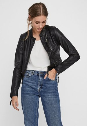 VERO MODA JACKE LEDER - Leather jacket - black