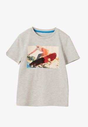 Print T-shirt - light grey mottled