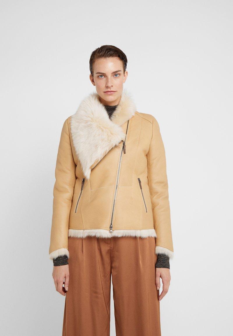 VSP - SHORT JACKET - Leather jacket - toscana vanilla