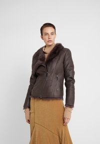 VSP - SHORT JACKET - Leather jacket - toscana dark mist - 0