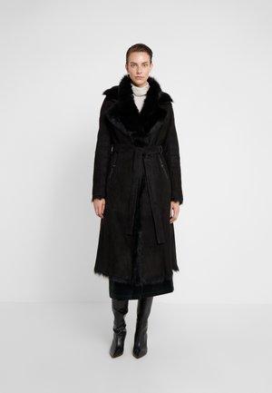 BELT COAT - Leather jacket - toscana black