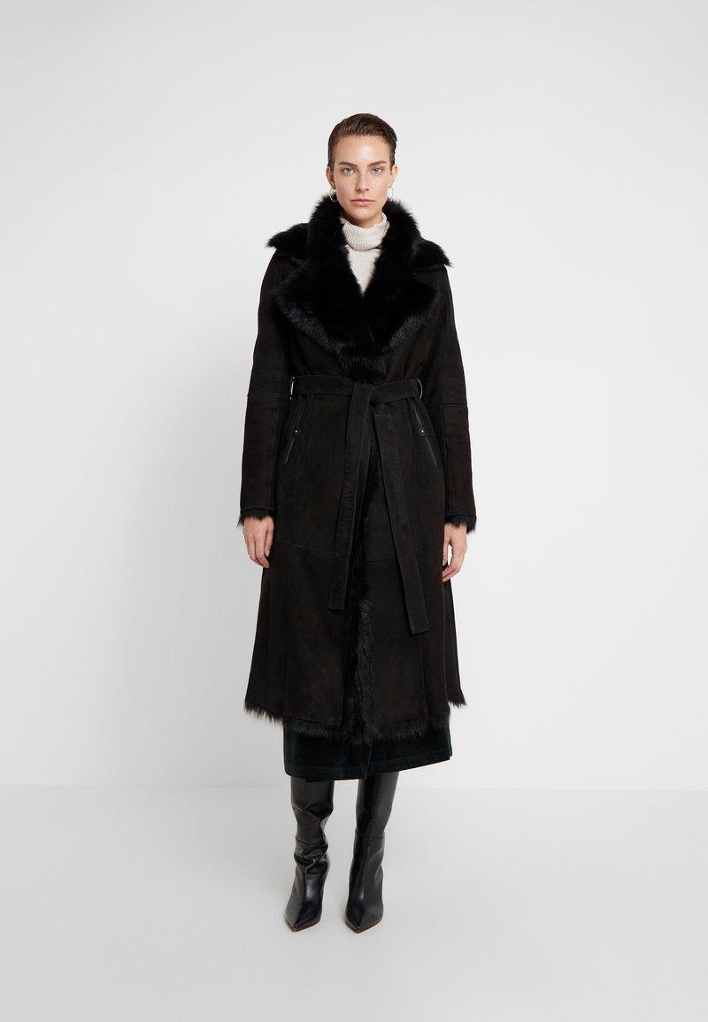 VSP - BELT COAT - Leather jacket - toscana black