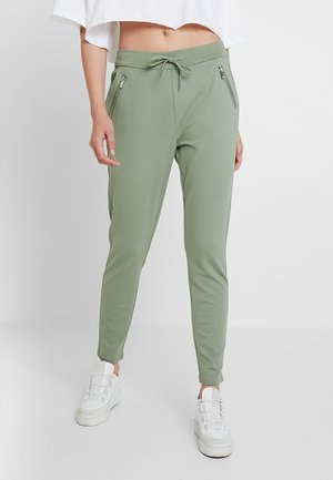 VMEVA LOOSE STRING ZIPPER PANT - Joggebukse - hedge green