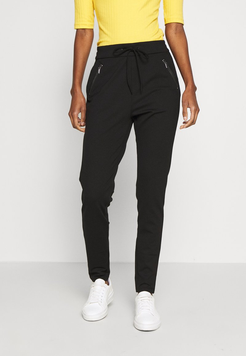 Vero Moda Tall - VMEVA LOOSE STRING ZIPPER PANT - Pantalon de survêtement - black