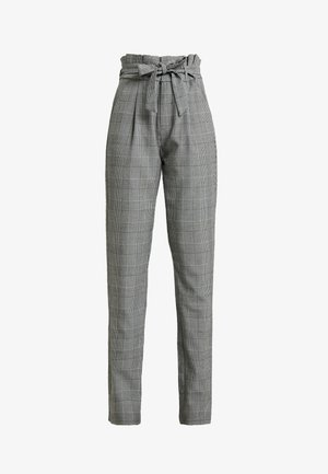 VMEVA LOOSE PAPERBAG CHECK PANT - Trousers - grey/white
