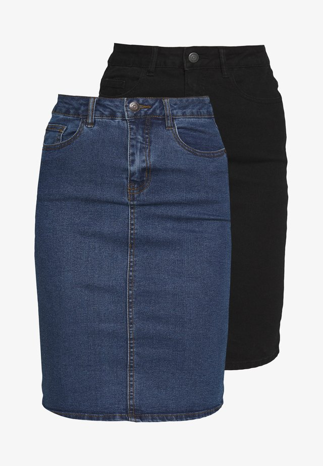 VMHOT NINE SKIRT TALL 2PACK - Jeansrock - medium blue denim/black