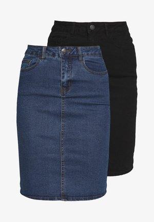 VMHOT NINE SKIRT TALL 2PACK - Falda vaquera - medium blue denim/black