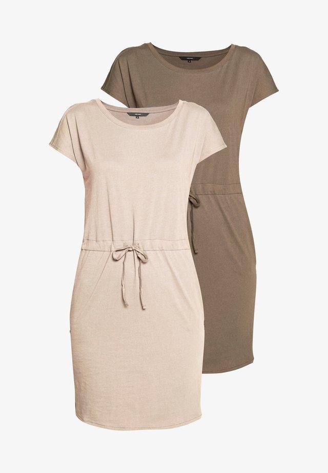 VMAPRIL SHORT DRESS 2 PACK - Jerseyklänning - khaki/rose