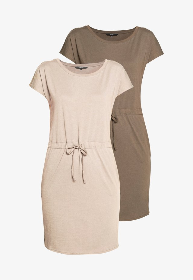 VMAPRIL SHORT DRESS 2 PACK - Jerseyjurk - khaki/rose