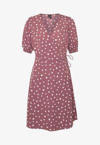 Vero Moda Tall - VMHENNA WRAP SHORT DRESS - Denní šaty - rose brown/white - 3