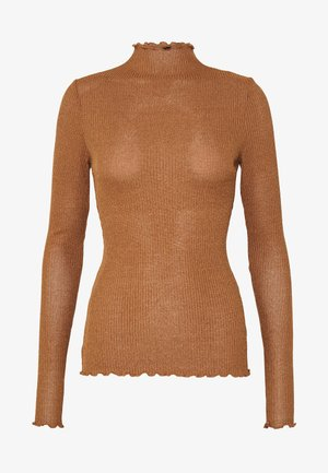 VMOPHELIA HIGHNECK FRILL - Pullover - tobacco brown