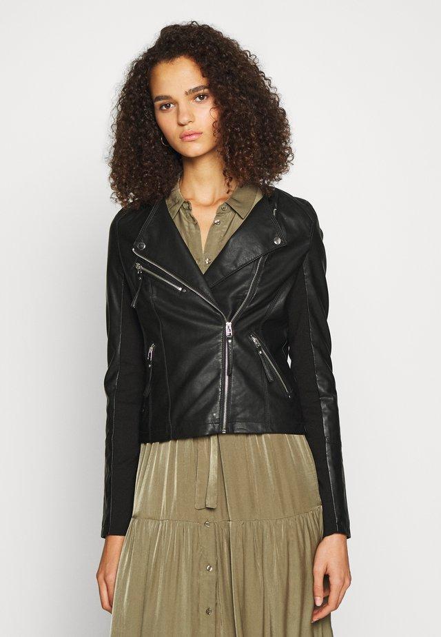 VMRIAFAVO SHORT COATED JACKET - Faux leather jacket - black