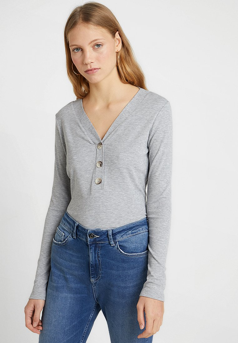 Vero Moda Tall - VMLEYLA V NECK BUTTON - Långärmad tröja - light grey melange